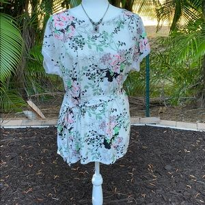 Two Hearts Floral Maternity Blouse with Tie, XL